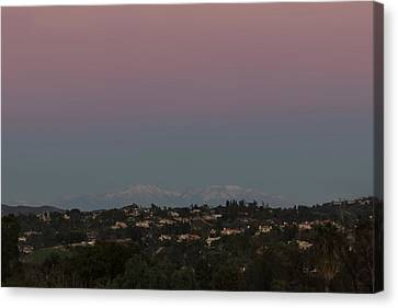 Twilight Over Snow Capped Big Bear  Canvas Print by Angela A Stanton