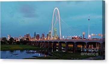 Twilight Panorama Of Downtown Dallas Skyline From Trinity River Overlook - Dallas Texas Canvas Print by Silvio Ligutti
