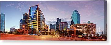 Twilight Panorama Of Downtown Dallas Skyline - North Akard Street Dallas Texas Canvas Print