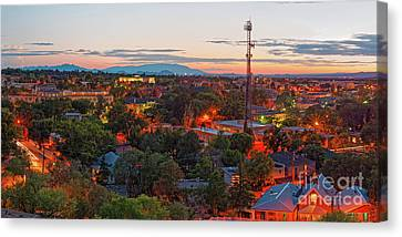 Martyr Canvas Print - Twilight Panorama Of Downtown Santa Fe From Cross Of The Martyrs - New Mexico  by Silvio Ligutti