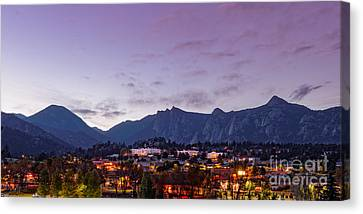 Twilight Panorama Of Estes Park, Stanley Hotel, Castle Mountain And Lumpy Ridge - Rocky Mountains  Canvas Print