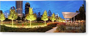 Twilight Panorama Of Klyde Warren Park And Downtown Dallas Skyline - North Texas Canvas Print by Silvio Ligutti