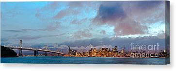 Twilight Panorama Of San Francisco Skyline And Bay Area Bridge From Treasure Island - California Canvas Print by Silvio Ligutti
