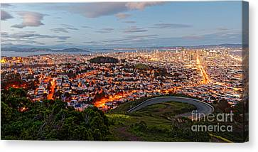 Twilight Panorama Of San Francisco Skyline And Bay Area From Twin Peaks Overlook - California Canvas Print by Silvio Ligutti