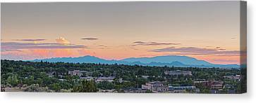 Martyr Canvas Print - Twilight Panorama Of Santa Fe Cityscape With Sandia Mountains In The Background - New Mexico  by Silvio Ligutti