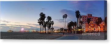 Twilight Panorama Of Santa Monica Pier And Oceanfront Walk - Los Angeles California Canvas Print by Silvio Ligutti