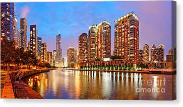 Twilight Panorama Of The Chicago River From Lake Shore Drive - Chicago Riverwalk Illinois Canvas Print by Silvio Ligutti