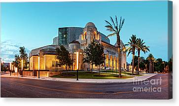 Twilight Panorama Of Tobin Center For The Performing Arts - Downtown San Antonio Texas Canvas Print by Silvio Ligutti