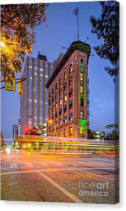 Twilight Photograph Of The Flatiron Building In Downtown Fort Worth - Texas Canvas Print by Silvio Ligutti