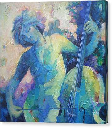 Twilight Rhapsody - Lady Playing The Cello Canvas Print by Susanne Clark
