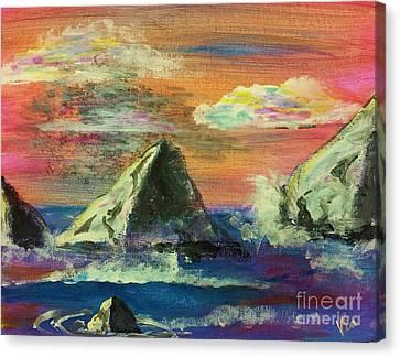 Twilight Sea Rocks Canvas Print by Judy Via-Wolff