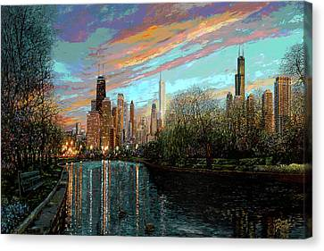 Building Canvas Print - Twilight Serenity II by Doug Kreuger
