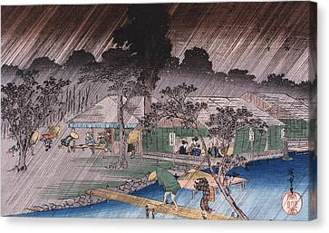 Twilight Shower At Tadasu Bank Canvas Print by Hiroshige