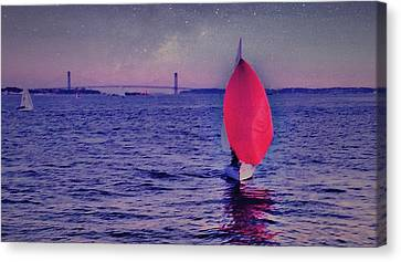Sailboat Canvas Print - Twilight Spinnaker by Sandy Taylor