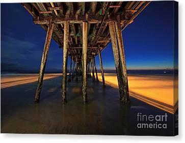 Twilight Under The Imperial Beach Pier San Diego California Canvas Print by Sam Antonio Photography