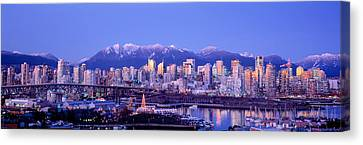 Twilight, Vancouver Skyline, British Canvas Print by Panoramic Images