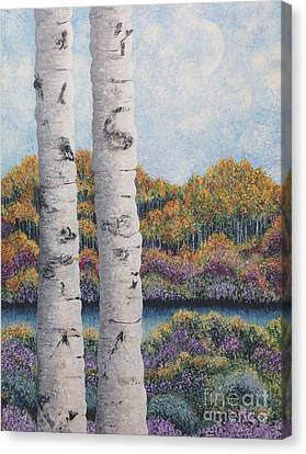 Twin Aspens Canvas Print by Holly Carmichael