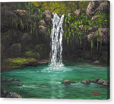 Canvas Print featuring the painting Twin Falls 2 by Darice Machel McGuire