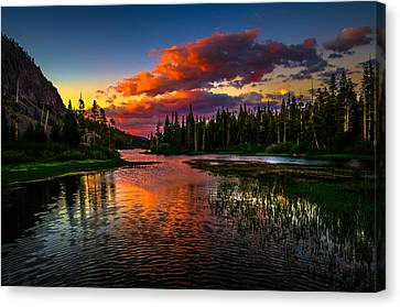 Reflection Canvas Print - Twin Lakes Sunset Mammoth Lakes California by Scott McGuire