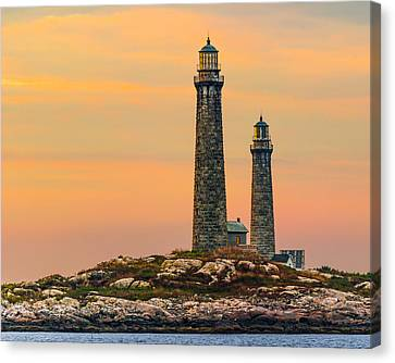 Twin Lights With Morning Glow Canvas Print