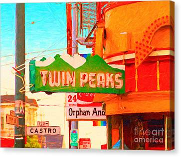 Twin Peaks Gay Bar In San Francisco . Painterly Style Canvas Print
