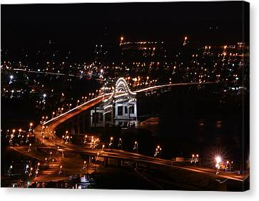 Twin Ports By Night Canvas Print by Ron Read