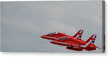 Canvas Print featuring the photograph Twin Red Arrows Taking Off - Teesside Airshow 2016 by Scott Lyons