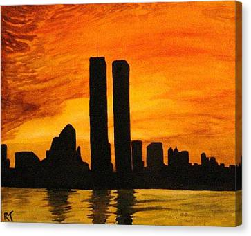 Twin Towers Silhouette Canvas Print by Rita Tortorelli