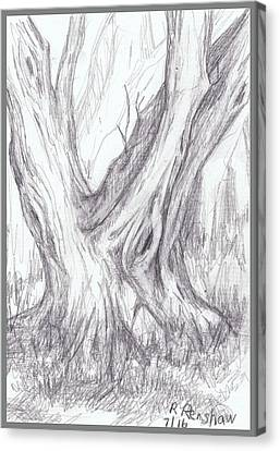 Twin Tree Canvas Print by Ruth Renshaw