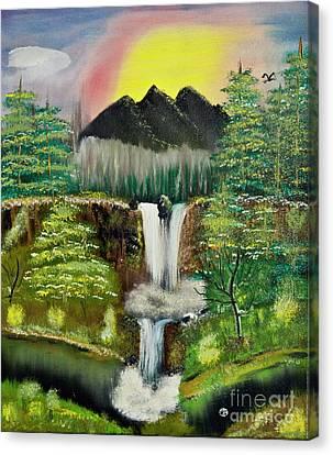 Twin Waterfalls Canvas Print