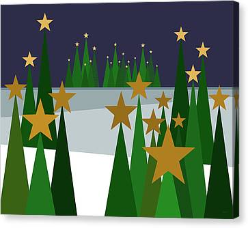 Twinkling Forest Canvas Print by Val Arie