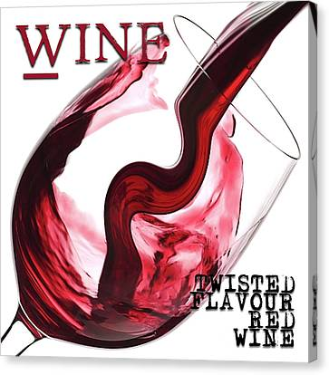 Twisted Flavour Red Wine Words Canvas Print