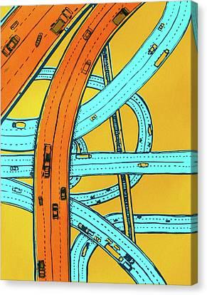 Twisting Roads  Canvas Print by Toni Silber-Delerive