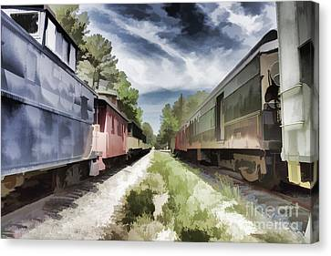 Twixt The Trains Canvas Print