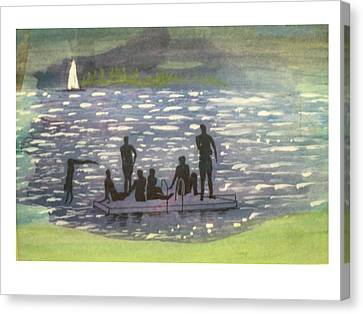 Twlight Swim  Canvas Print by Hal Newhouser