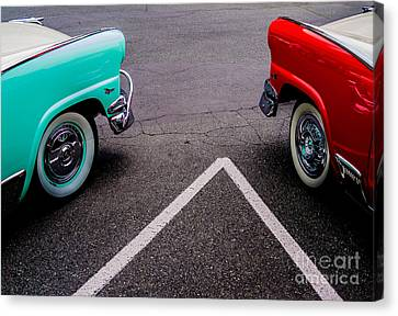 Canvas Print featuring the photograph Two 1958 Ford Crown Victorias by M G Whittingham
