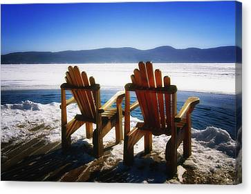 Two Adirondack Chairs  Canvas Print by George Oze