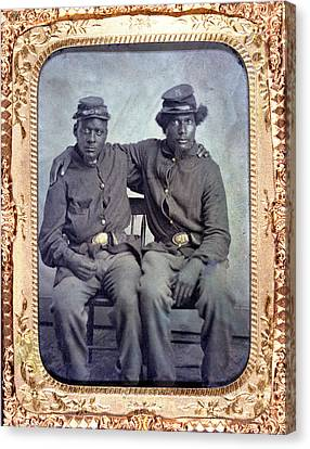 Two African American Soldiers Wearing Canvas Print by Everett