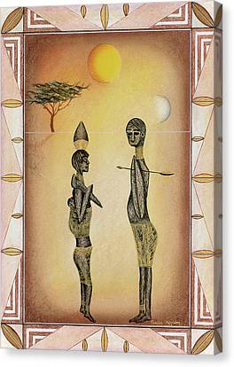 Two African Figures And Tree Canvas Print by Sally Appleby