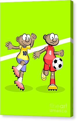 Kids Canvas Print - Two African Soccer Players Dispute The Ball by Daniel Ghioldi
