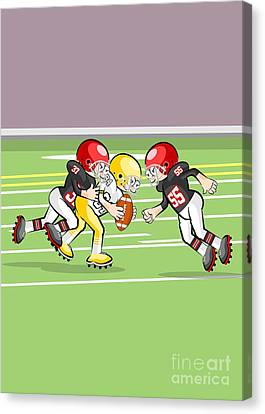 Two American Football Players Attack The Field Marshal To Get The Ball Canvas Print