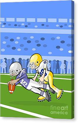 Football Canvas Print - Two American Football Players Battling For The Ball by Daniel Ghioldi