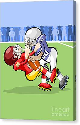 Team Canvas Print -  Two American Football Players In Hard Struggle For Possession Of The Ball by Daniel Ghioldi