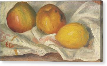 Two Apples And A Lemon Canvas Print by Pierre Auguste Renoir