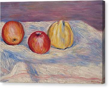 Two Apples And A Quince Canvas Print by Pierre Auguste Renoir
