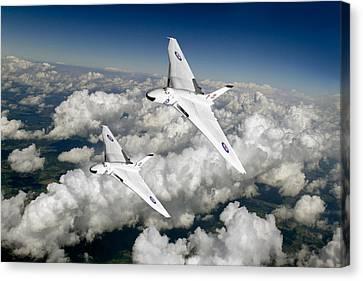 Two Avro Vulcan B1 Nuclear Bombers Canvas Print by Gary Eason