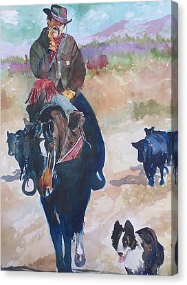 Canvas Print featuring the painting Two Bad Cowdogs by P Maure Bausch