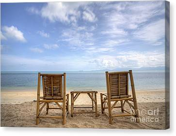 Two Bamboo Beach Chair Canvas Print by Anek Suwannaphoom