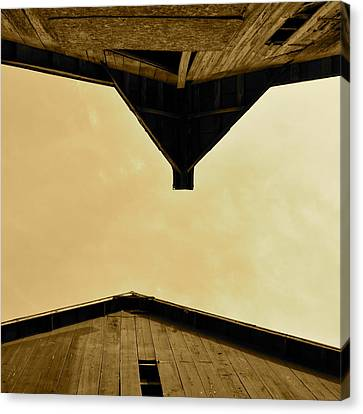 Two Barns In Sepia Canvas Print