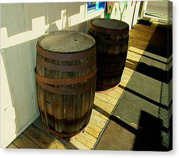 Canvas Print featuring the photograph Two Barrels by Lenore Senior